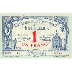 Montpellier - Pirot 85-21 - 1 franc - Série 176 - 17/07/1919 - Etat : SUP+