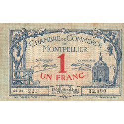 Montpellier - Pirot 85-21 - 1 franc - 1919 - Etat : TB-