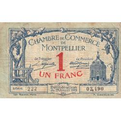 Montpellier - Pirot 85-21 - 1 franc - Série 222 - 17/07/1919 - Etat : TB-