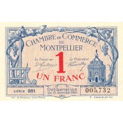 Montpellier - Pirot 85-24 - 1 franc - Série 261 - 06/01/1921 - Etat : SUP+