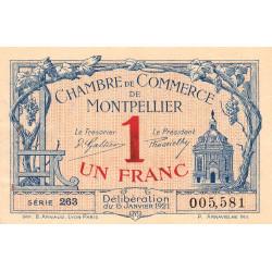 Montpellier - Pirot 85-24 - 1 franc - Série 263 - 06/01/1921 - Etat : TTB