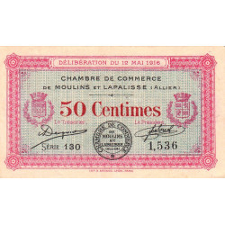 Moulins et Lapalisse - Pirot 86-1 - 50 centimes - Série 130 - 1916 - Etat : TTB+