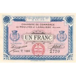 Moulins et Lapalisse - Pirot 86-4a - 1 franc - Série T 120 - 1916 - Etat : NEUF