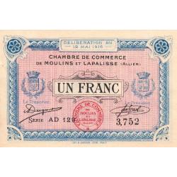 Moulins et Lapalisse - Pirot 86-4b - 1 franc - Série AD 129 - 12/05/1916 - Etat : SUP