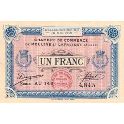 Moulins et Lapalisse - Pirot 86-4b - 1 franc - Série AU 146 - 12/05/1916 - Etat : SUP