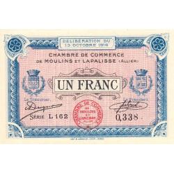 Moulins et Lapalisse - Pirot 86-9a - 1 franc - Série L 162 - 13/10/1916 - Etat : NEUF