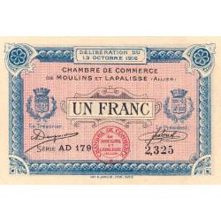 Moulins et Lapalisse - Pirot 86-9b - 1 franc - Série AD 179 - 1916 - Etat : SPL