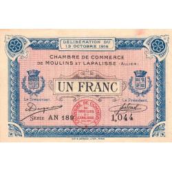 Moulins et Lapalisse - Pirot 86-9b - 1 franc - Série AN 189 - 13/10/1916 - Etat : SUP