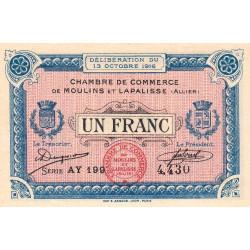 Moulins et Lapalisse - Pirot 86-9b - 1 franc - Série AY 199 - 13/10/1916 - Etat : SPL