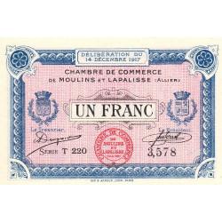 Moulins et Lapalisse - Pirot 86-13a - Série T 220 - 1 franc - 1917 - Etat : NEUF