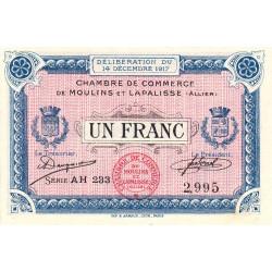 Moulins et Lapalisse - Pirot 86-13b - 1 franc - Série AH 233 - 14/12/1917 - Etat : SUP+