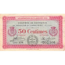 Moulins et Lapalisse - Pirot 86-15 - 50 centimes - Série 278 - 09/01/1920 - Etat : TB