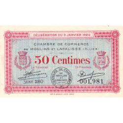Moulins et Lapalisse - Pirot 86-15 - 50 centimes - Série 280 - 09/01/1920 - Etat : SUP