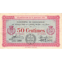 Moulins et Lapalisse - Pirot 86-15 - 50 centimes - Série 289 - 09/01/1920 - Etat : TB