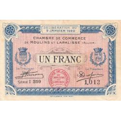 Moulins et Lapalisse - Pirot 86-17a - 1 franc - Série I 259 - 09/01/1920 - Etat : TB+