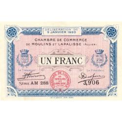 Moulins et Lapalisse - Pirot 86-17b - 1 franc - Série AM 288 - 09/01/1920 - Etat : SUP
