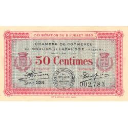 Moulins et Lapalisse - Pirot 86-18 - 50 centimes - Série 334 - 02/07/1920 - Etat : NEUF