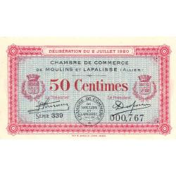 Moulins et Lapalisse - Pirot 86-18 - 50 centimes - Série 339 - 02/07/1920 - Etat : SPL