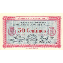 Moulins et Lapalisse - Pirot 86-18 - Série 339 - 50 centimes - 1920 - Etat : SPL