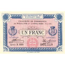 Moulins et Lapalisse - Pirot 86-20a - 1 franc - Série X 323 - 02/07/1920 - Etat : SUP+