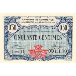 Moulins et Lapalisse - Pirot 86-22 - 50 centimes - Série 17 - 17/11/1921 - Etat : SPL