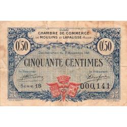 Moulins et Lapalisse - Pirot 86-22 - 50 centimes - Série 18 - 17/11/1921 - Etat : TB-