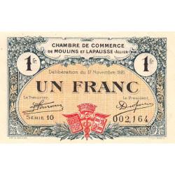 Moulins et Lapalisse - Pirot 86-24 - 1 franc - Série 10 - 17/11/1921 - Etat : SPL