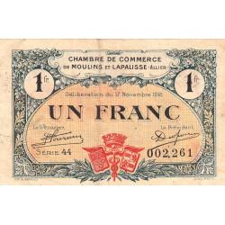 Moulins et Lapalisse - Pirot 86-24 - 1 franc - Série 44 - 1921 - Etat : TB