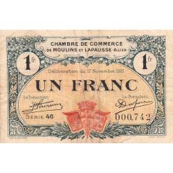 Moulins et Lapalisse - Pirot 86-24 - 1 franc - Série 46 - 17/11/1921 - Etat : TB-