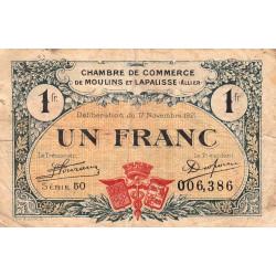 Moulins et Lapalisse - Pirot 86-24 - 1 franc - Série 50 - 17/11/1921 - Etat : TB-