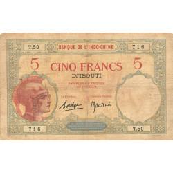 Djibouti - Pick 6b-2 - 5 francs - 1927 - Etat : TB-
