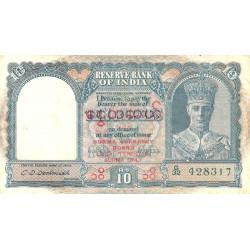 Birmanie - Pick 32 - 10 rupees - Série G/32 - 1947 - Etat : TB