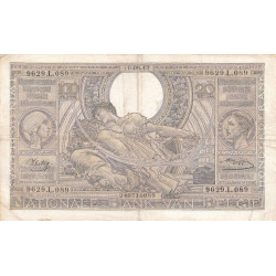 Belgique - Pick 112 - 100 francs ou 20 belgas - 1942 - Etat : TB