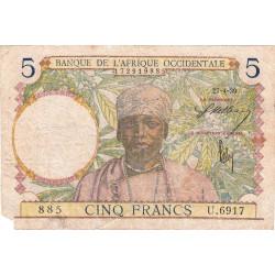 AOF - Pick 21_2d - 5 francs  - Etat : AB