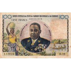 Etats de l'Afrique Equatoriale - Pick 1f - 100 francs - Série B.39 - 1961 - Etat : TB-