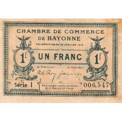 Bayonne - Pirot 21-9a - 1 franc - Série I - 16/01/1915 - Etat : TB+