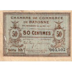 Bayonne - Pirot 21-42 - 50 centimes - Série hh - 19/05/1917 - Etat : TB-