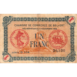 Belfort - Pirot 23-37 - 1 franc - 1918 - Etat : TB-