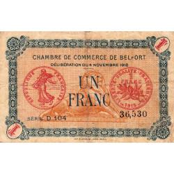 Belfort - Pirot 23-37 - 1 franc - Série D 104 - 04/11/1918 - Etat : TB-