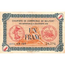 Belfort - Pirot 23-40 - 1 franc - Série AB 127 - 04/11/1918 - Etat : TTB