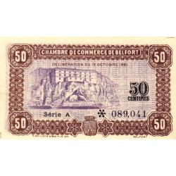 Belfort - Pirot 23-56 - 50 centimes - Série A - 12/10/1921 - Etat : SUP