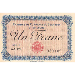 Besançon (Doubs) - Pirot 25-21 - 1 franc - Série AA 176 - Sans date (1920) - Etat : SPL