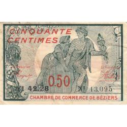 Béziers - Pirot 27-25 variété - 50 centimes - Série YI 42.28 - 18/10/1919 - Etat : TB