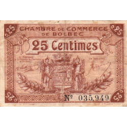 Bolbec - Pirot 29-1 - 25 centimes - 1920 - Etat : TB