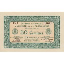 Alençon / Flers (Orne) - Pirot 6-3 - 50 centimes - Série F1 - 10/08/1915 - Etat : SPL