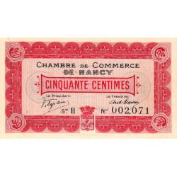 Nancy - Pirot 87-1 - 50 centimes - Série H - 09/09/1915 - Etat : SUP+