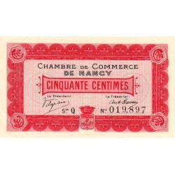 Nancy - Pirot 87-1 - 50 centimes - Série Q - 09/09/1915 - Etat : SUP