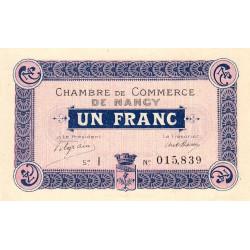 Nancy - Pirot 87-3 - 1 franc - Série I - 09/09/1915 - Etat : SUP