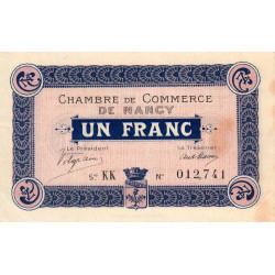 Nancy - Pirot 87-5 - 1 franc - Série KK - 07/12/1915 - Etat : TTB