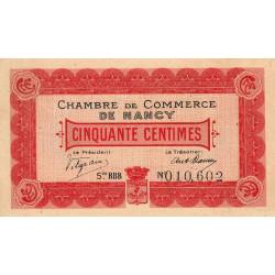 Nancy - Pirot 87-7 - 50 centimes - Série BBB - 01/01/1916 - Etat : SPL